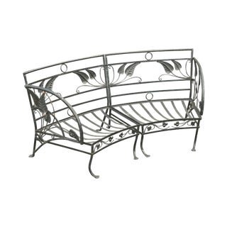 Salterini Vintage Art Nouveau Wrought Iron 2 Piece Garden Bench or Settee For Sale