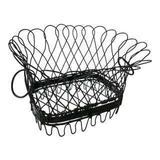 Antique Handmade Wire Basket For Sale
