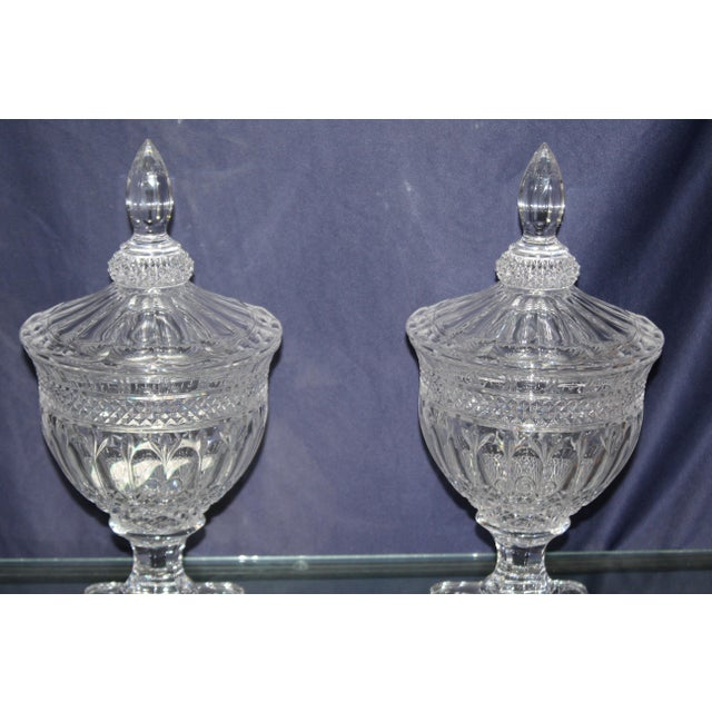 Hollywood Regency Irish Crystal Candy Dishes- A Pair For Sale - Image 3 of 7