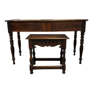 Antique Console + Wood Stool For Sale