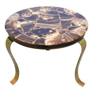 Vintage Mid Century Modern Muller's of Mexico Brass & Onyx Round End Side Table For Sale