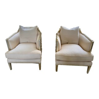 Honeycomb Frame Upholstered Chairs - a Pair For Sale