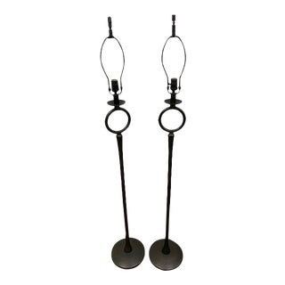 Bronze-Finish 'O' Floor Lamps After Giacometti, Jean Michel Frank - a Pair For Sale
