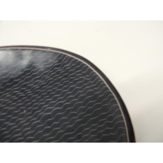African Besmo Soapstone Black and White Oval Decorative Tray For Sale In Miami - Image 6 of 7