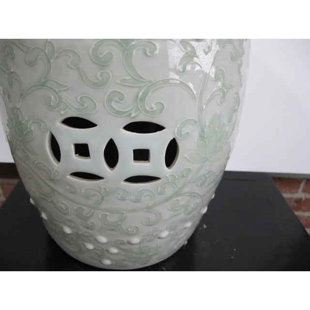 Asian Chinese Twisted Lotus Motif Celadon Garden Stool For Sale - Image 3 of 5