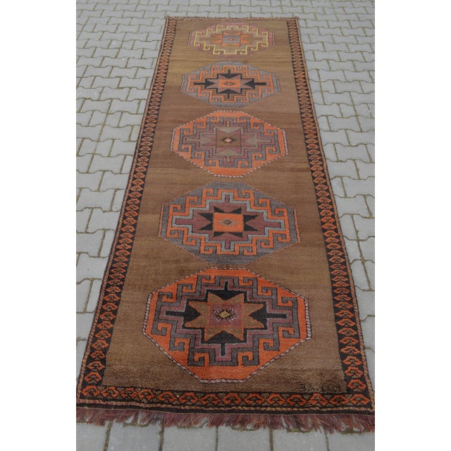 Hand Knotted Turkish Runner Rug - 3′11″ × 10′9″ - Image 4 of 10