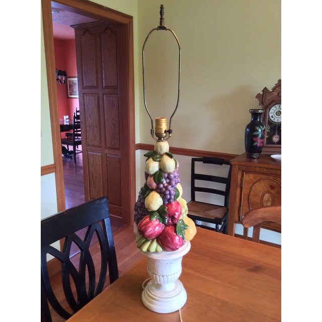 1960s Vintage Majolica Fruit Topiary Lamp For Sale - Image 13 of 13