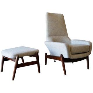 1960s Vintage i.b. Kofod-Larsen High Back Lounge Chair Model Pd30 & Ottoman For Sale