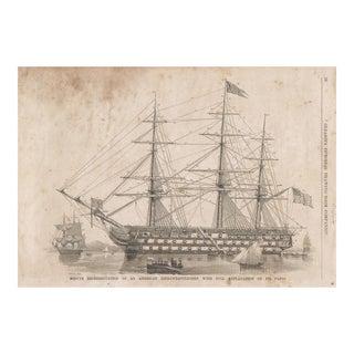 Vintage Print of a Ship Diagram For Sale