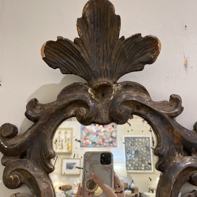 Vintage Wooden Shield Mirrors - a Pair For Sale In Houston - Image 6 of 11
