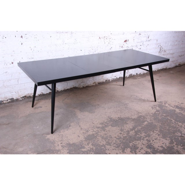 Lacquer 1950s Paul McCobb for Planner Group Ebonized Extension Dining Table & Chairs - Set of 6 For Sale - Image 7 of 13