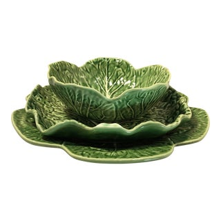 Vintage Bordallo Pinheiro Cabbage Leaf Serving Dishes - Set of 3