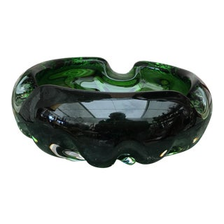 1970s Vintage Mid-Century Modern Green Murano Glass Ashtray For Sale
