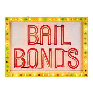 Midcentury Las Vegas Strip Neon Bail Bonds Sign Art For Sale