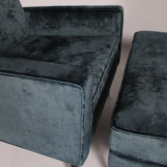 1950s Blue Velvet Lounge Chair and Ottoman For Sale - Image 10 of 11