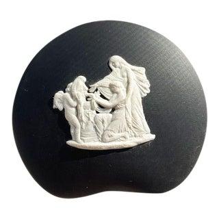 Neoclassical Black Ceramic Jasperware Wedgwood Trinket Box or Vide Poche England For Sale