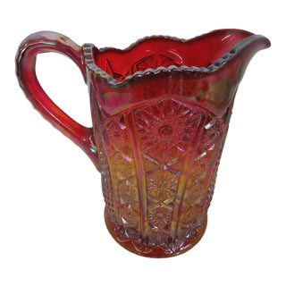 Mid Century Indiana Carnival Glass Heirloom Sunset Iridescent Pitcher Jug For Sale