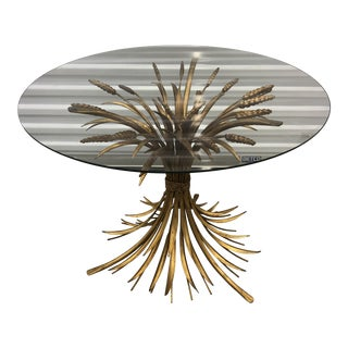 1960s Hollywood Regency Italian Tole Gilt Sheaf of Wheat Glass Top Side Table For Sale
