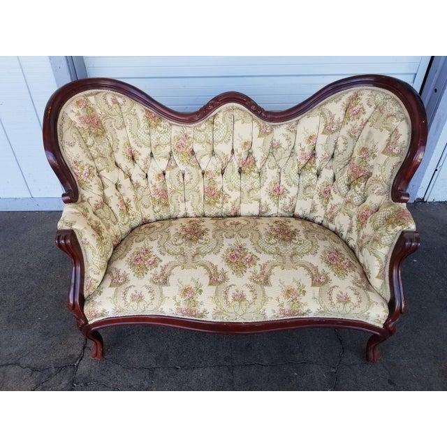 Vintage Victorian Carved Wood Floral Tufted Settee - Image 4 of 5