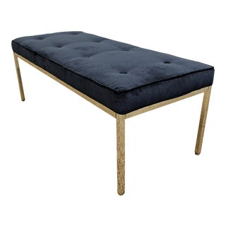 Milo Baughman Style Mid-Century Modern Blue Chrome Bench For Sale