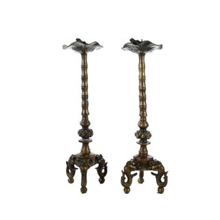 Antique Japanese Bronze Frog Candlesticks - A Pair Preview
