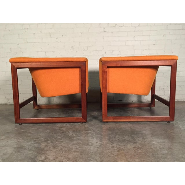 Orange Milo Baughman Mid-Century Modern Floating Cube Chairs - A Pair For Sale - Image 8 of 10