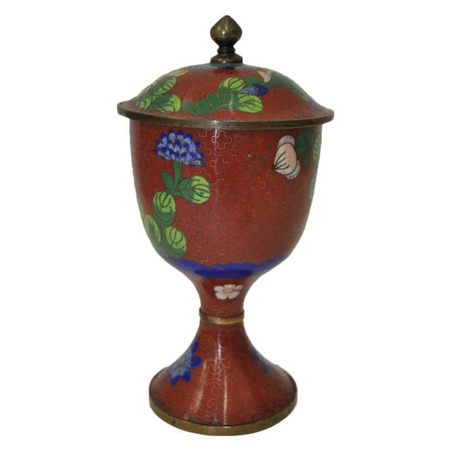 Vintage Red Cloisonne Urn with Lid - Image 1 of 6