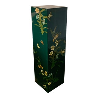 Vintage Hand Painted Lacquered Tall Display Pedestal Stand For Sale