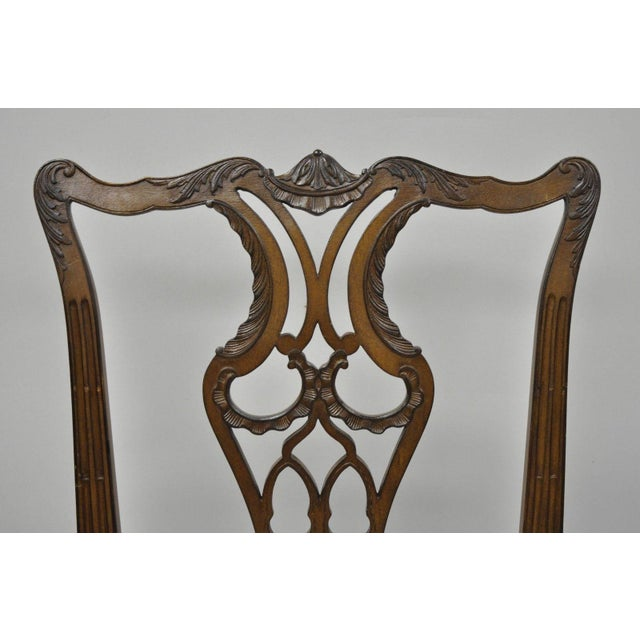 Antique Mahogany Pagoda Carved Chinese Chippendale Style Dining Chairs - Set of 4 For Sale - Image 4 of 12