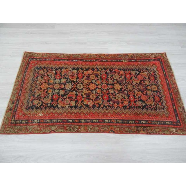 Antique Distresssed Small Persian Malayer Rug - 3′3″ × 5′9″ For Sale - Image 4 of 6