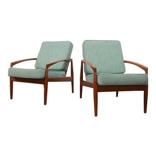 Mid Century Modern Paper Knife Lounge Chairs by Kai Kristiansen- A Pair For Sale