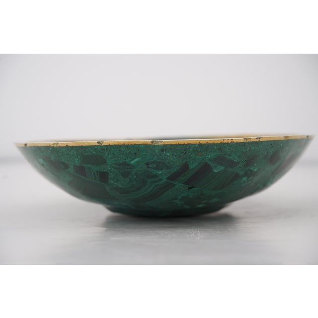 Vintage Oval Malachite Dish With Scalloped Brass Rim For Sale - Image 4 of 10