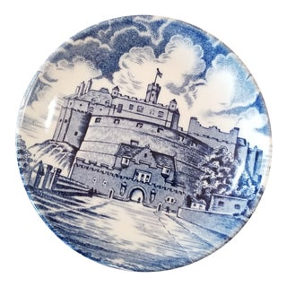 Antique Old Chelsea England Blue & White Coaster For Sale