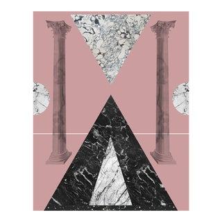 Art Deco Geometric Collage Print With Marble and Pink by Molly Frances For Sale