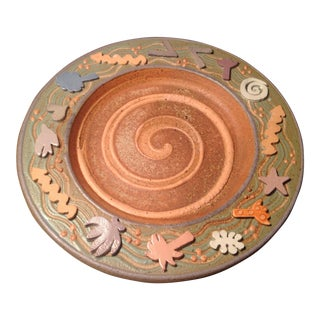 Late 20th Century Post-Modern Designer Pottery Plate For Sale