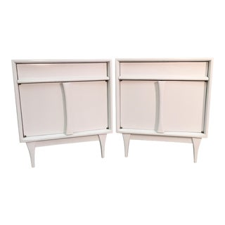 1960s Vintage White Painted Nightstands - A Pair
