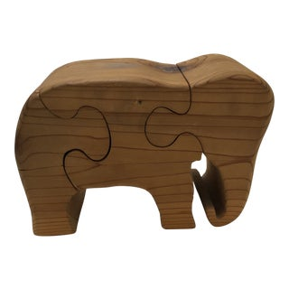 Vintage Mid Century Solid Wood Elephant Standing Puzzle For Sale