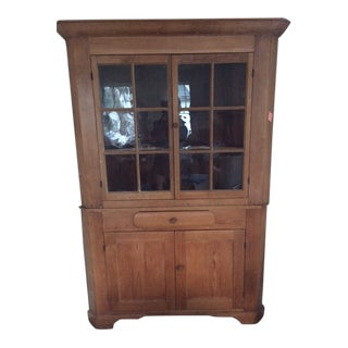 1800's Antique American Pine Corner Cupboard For Sale