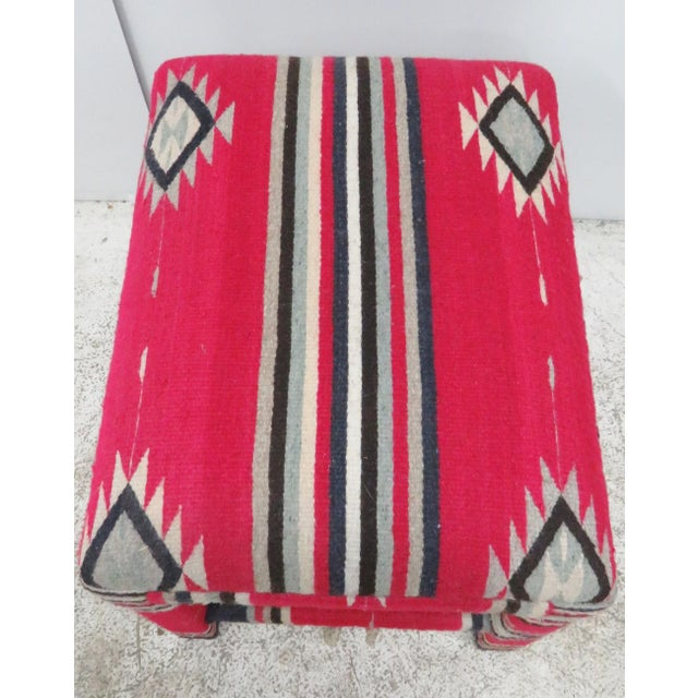 Mid century Parsons style stool upholstered in Aztec pattern fabric