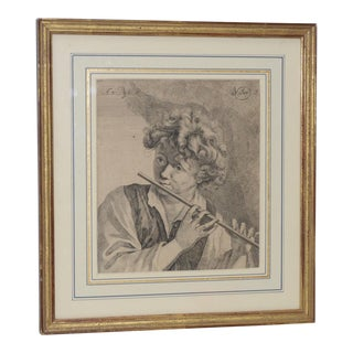 """Antique Engraving """"Boy With Flute"""" Plate Signed V Dyk"""