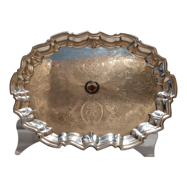 Vintage English Equestrian Silver Plated Serving Platter with Feet - Image 1 of 10