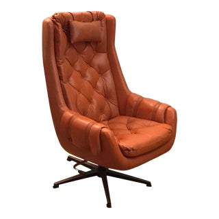 Original Mid-Century Modern Burnt Orange Leather Swedish Swivel Lounge Chair For Sale