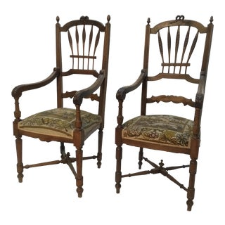 Mid 19th Century Vintage French Provincial Armchairs- A Pair For Sale