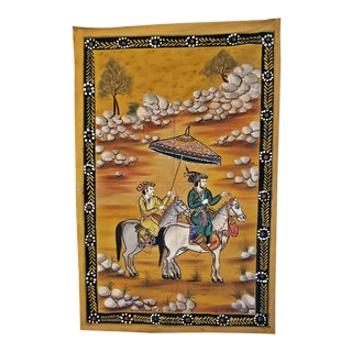 Vintage Indian Tapestry of a Mughal Emperor For Sale