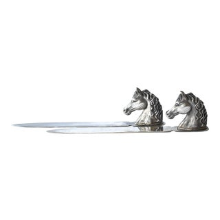 Equestrian Horse Head Reed & Barton Silver Plate Letter Openers - a Pair For Sale