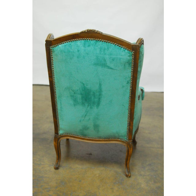 Louis XV Turquoise Velvet Wingback Chairs - Image 7 of 7