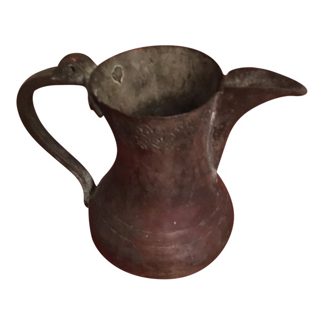 Ancient Hammered Copper Israeli Pitcher - Image 1 of 4