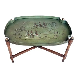 Vintage Fishing Scene Tole Tray Table For Sale