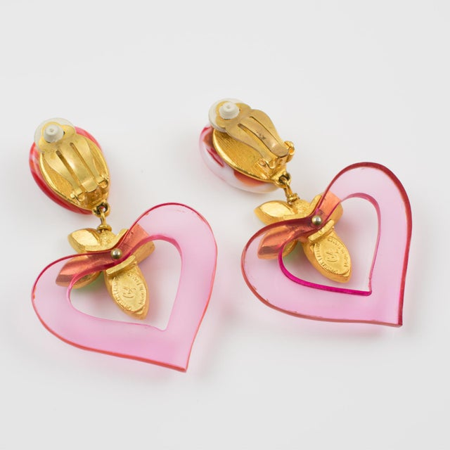 1990s Christian Lacroix Paris Dangling Clip on Earrings Jeweled Pink Resin Heart For Sale - Image 5 of 7