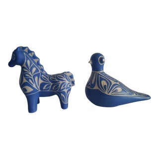 Pablo Padro Mid-Century Modern Blue Animal Decorations - a Pair For Sale